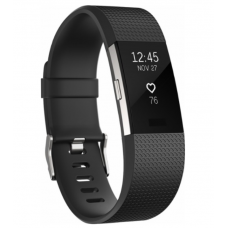 Fitbit - Charge 2 Activity Tracker + Heart Rate (Large) - Black Silver