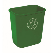 Commercial Rectangle Recycling Waste Basket 13 5/8 qt. Green