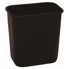 Commercial Rectangle Plastic Waste Basket 13 5/8 qt. Black