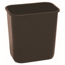 Commercial Rectangle Plastic Waste Basket 13 5/8 qt. Brown