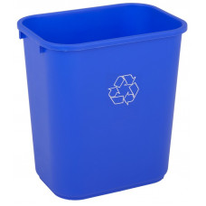 Commercial Rectangle Recycling Waste Basket 28 1/8 qt. Blue