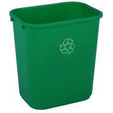 Commercial Rectangle Recycling Waste Basket 28 1/8 qt. Green
