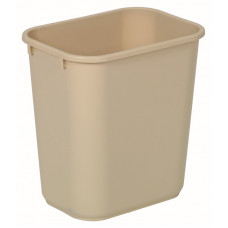 Commercial Rectangle Plastic Waste Basket 28 1/8 qt. Beige
