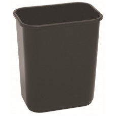 Commercial Rectangle Plastic Waste Basket 28 1/8 qt. Black