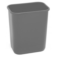 Commercial Rectangle Plastic Waste Basket 28 1/8 qt. Grey