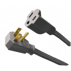 3-Conductor 14/3 SPT-3 Right Angle Plug, Appliance Extension Cords